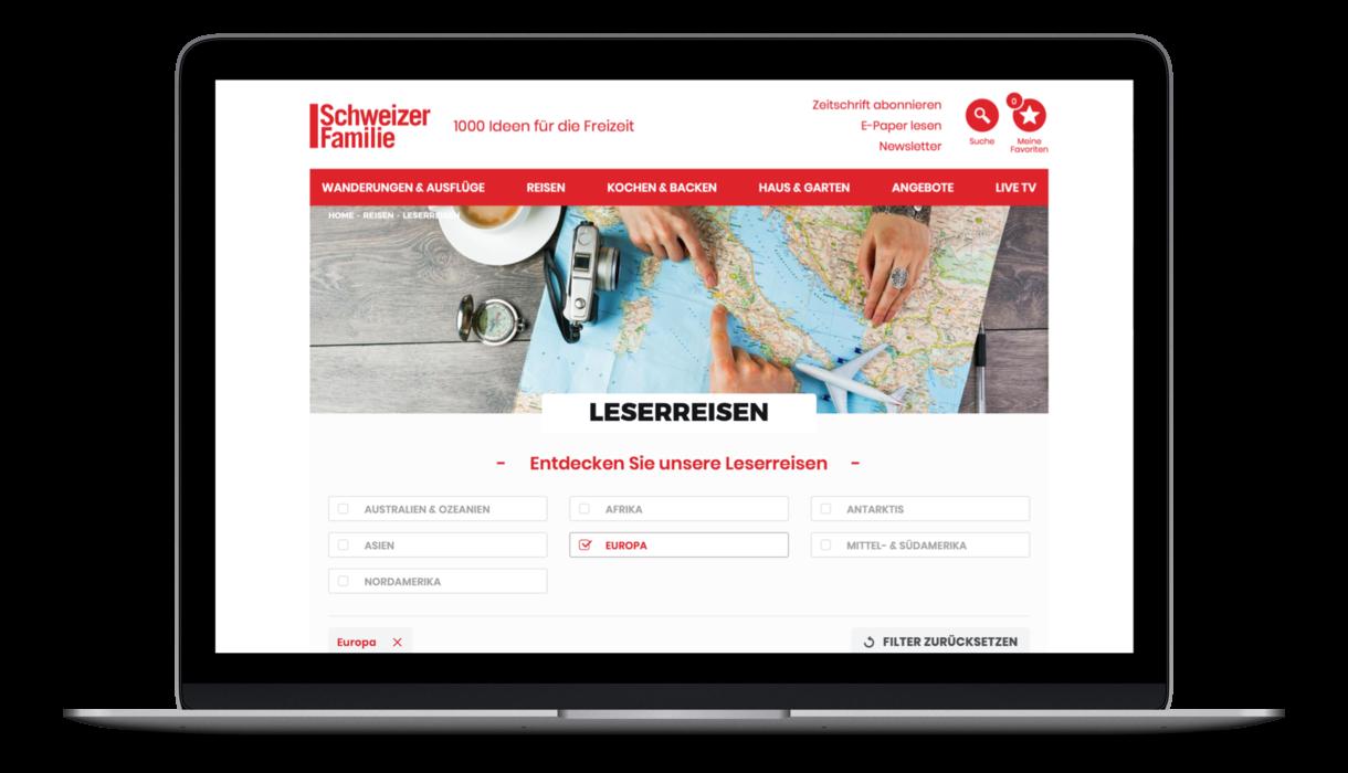 """schweizer familie startpage """"Leserreisen"""""""